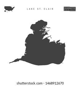 Lake St. Clair Blank Map Isolated on White Background. High-Detailed Black Silhouette Map of Lake St. Clair.