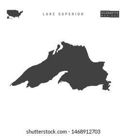Lake Superior Blank Map Isolated on White Background. High-Detailed Black Silhouette Map of Lake Superior.