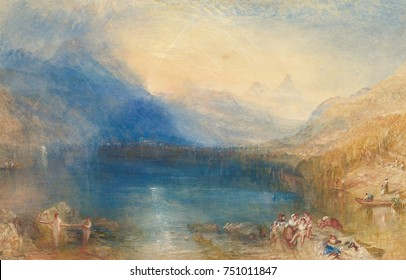 THE LAKE OF ZUG, by Joseph Mallord William Turner, 1843, American watercolor painting. This watercolor was painted in studio from sketches Turner made in the Swiss Alps. The lake and mountains were pa