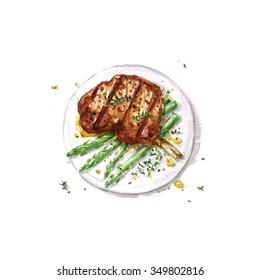 Lamb Rib  - Watercolor Food Collection