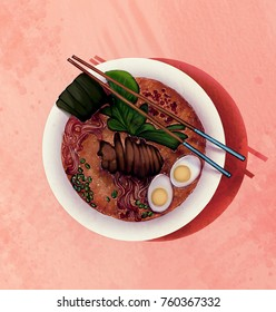 Lamen japanese food illustration