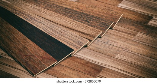 Laminate floor planks on wooden background. 3d illustration