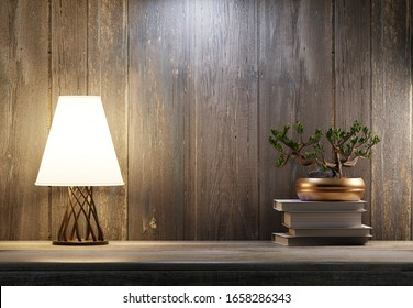 Lamp and bonsai wood on a wooden shelf. Cozy home interior. 3D rendering.