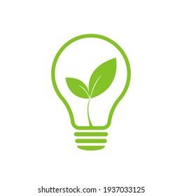 Lamp environmental light bulb with leaf logo. Eco world, green leaf, energy saving lamp symbol. Illustration