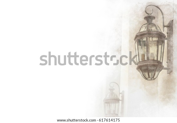 Lamp Light On Wall Watercolor Painting Stock Illustration 617614175