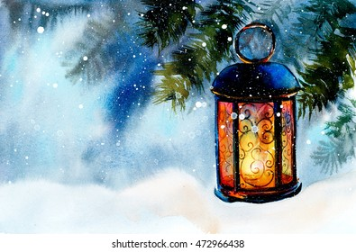 Lamp on snow. New Year's and Christmas motive. Snow winter. Hand drawn watercolor illustration.