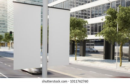 lamp post banner 3d rendering