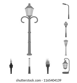 Lamp post monochrome icons in set collection for design. Lantern and lighting bitmap symbol stock web illustration.