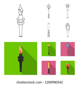 Lamppost in retro style, modern lantern, torch and other types of streetlights. Lamppost set collection icons in outline,flat style bitmap symbol stock illustration web.