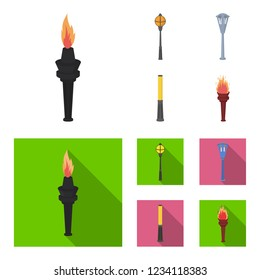 Lamppost in retro style, modern lantern, torch and other types of streetlights. Lamppost set collection icons in cartoon,flat style bitmap symbol stock illustration web.