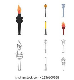Lamppost in retro style, modern lantern, torch and other types of streetlights. Lamppost set collection icons in cartoon,outline style bitmap symbol stock illustration web.