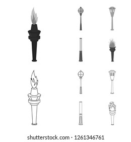 Lamppost in retro style, modern lantern, torch and other types of streetlights. Lamppost set collection icons in outline,monochrome style bitmap symbol stock illustration web.
