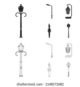 Lamppost in retro style,modern lantern, torch and other types of streetlights. Lamppost set collection icons in black,outline style bitmap symbol stock illustration web.