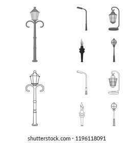 Lamppost in retro style,modern lantern, torch and other types of streetlights. Lamppost set collection icons in outline,monochrome style bitmap symbol stock illustration web.