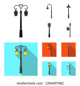 Lamppost in retro style,modern lantern, torch and other types of streetlights. Lamppost set collection icons in black, flat style bitmap symbol stock illustration web.