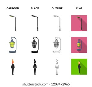 Lamppost in retro style,modern lantern, torch and other types of streetlights. Lamppost set collection icons in cartoon,black,outline,flat style bitmap symbol stock illustration web.