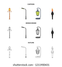 Lamppost in retro style,modern lantern, torch and other types of streetlights. Lamppost set collection icons in cartoon,outline,monochrome style bitmap symbol stock illustration web.