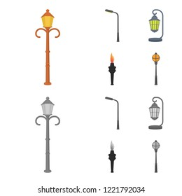 Lamppost in retro style,modern lantern, torch and other types of streetlights. Lamppost set collection icons in cartoon,monochrome style bitmap symbol stock illustration web.