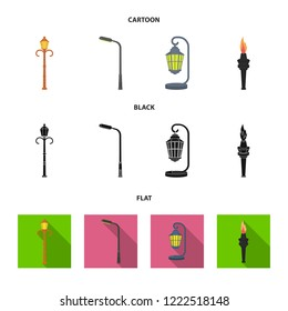 Lamppost in retro style,modern lantern, torch and other types of streetlights. Lamppost set collection icons in cartoon,black,flat style bitmap symbol stock illustration web.