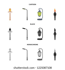 Lamppost in retro style,modern lantern, torch and other types of streetlights. Lamppost set collection icons in cartoon,black,monochrome style bitmap symbol stock illustration web.
