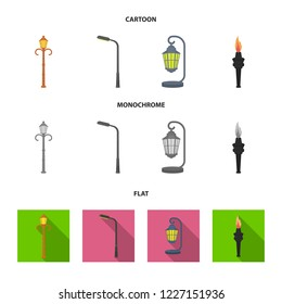 Lamppost in retro style,modern lantern, torch and other types of streetlights. Lamppost set collection icons in cartoon,flat,monochrome style bitmap symbol stock illustration web.