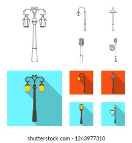 Lamppost in retro style,modern lantern, torch and other types of streetlights. Lamppost set collection icons in outline,flat style bitmap symbol stock illustration web.