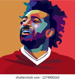 Lampung Indonesia, August 03, 2018 :potrait mohamed salah on pop art style isolated.