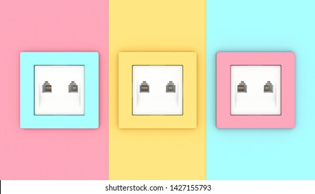 LAN wall socket in 3 different alternating colors. 3D render image, connectivity concept.