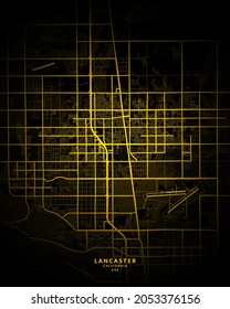 Lancaster, California, United States City Map - Lancaster City Gold Map Poster Wall Art Home Decor Ready to Printable