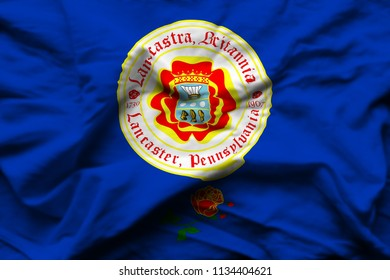 Lancaster Pennsylvania 3D wrinkled flag illustration. Usable for background and texture.