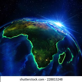 land area in Africa, the night - maps elements of this image furnished by NASA