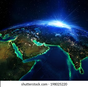 land area in Arabians, and India the night - maps elements of this image furnished by NASA