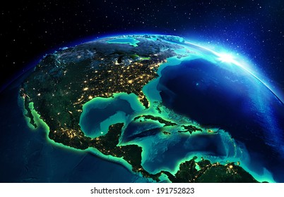 land area in North America the night - Usa, maps elements of this image furnished by NASA