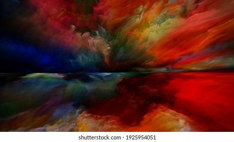 Land of Awakening. Escape to Reality series. Abstract background made of surreal sunset sunrise colors and textures on the theme of landscape painting, imagination, creativity and art