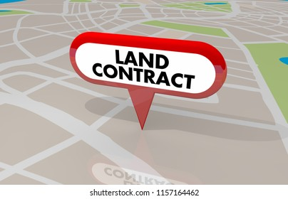 Land Contract Home Ownership Buy Lease Property Map Pin 3d Illustration