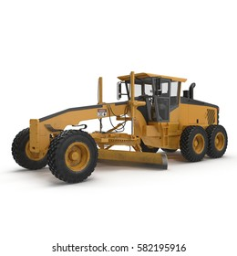 Land grader isolated on white. 3D illustration