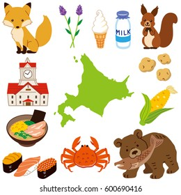 land shape of Hokkaido Japan and special product