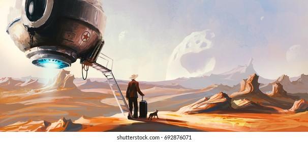 Landing alien, digital painting.