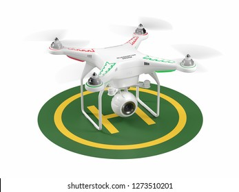 Landing drone on green helipad. 3d render
