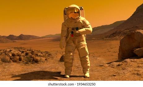 landing on Mars illustration 3d render 3d