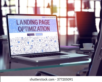 Landing Page Optimization Concept Closeup on Landing Page of Laptop Screen in Modern Office Workplace. Toned Image with Selective Focus. 3D Render.