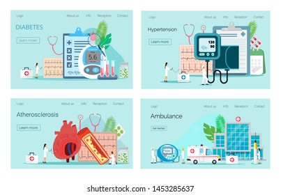 Landing pages with blood glucose testing meter, hypotension and hypertension. Type 2 diabetes and insulin production concept.