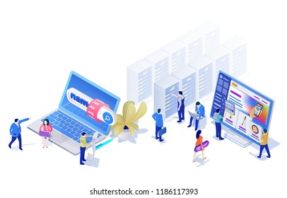 Landing Pages Website Template in the modern 3d isometric style. Choosing and buying a domain, hosting for a site, site builder. People are busy with work. Bitmap illustration