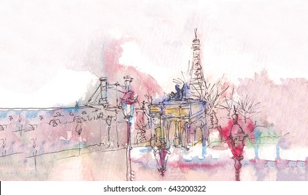 Landmark of Paris with watercolor in a rainy day - old museum view with Eiffel Tower behind. Watercolor chic. Parisian panorama. Parisian watercolor panorama. Chic landscape