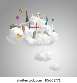 landmarks on the clouds as travel around the world dream concept with copy space