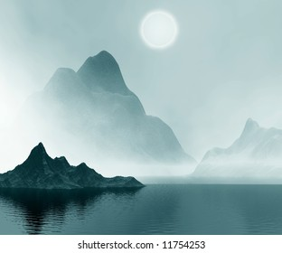 Landscape. 3D computer graphics. Mountains  and sea in mist