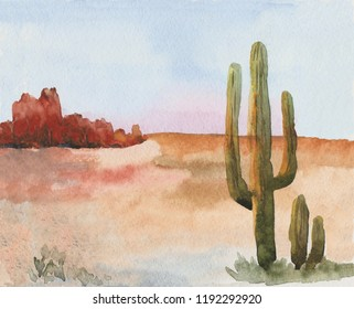 Landscape of American prairies with cactus. Wild West. An illustration painted in watercolor