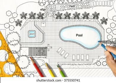 Landscape Architect Designs Backyard Plan with Pool For Luxury Villa.
