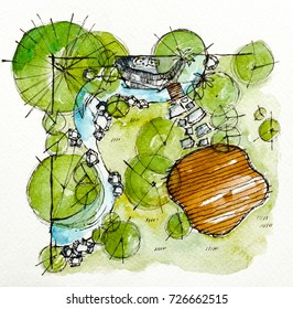 Landscape architect plan design by watercolor hand drawn painting with brushes strokes.Colorful splashing in the paper.It's wet texture background for creative wallpaper,floral card and art work.