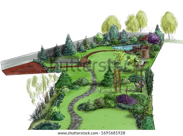 Landscape Architecture Design Plan Courtyard Villa Stock Illustration 1695681928